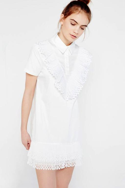 CLOTHING - White Ruffle Shirt Dress