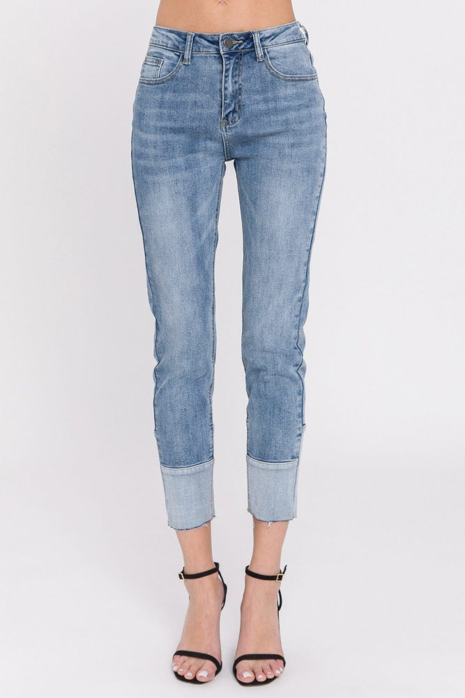Load image into Gallery viewer, Contrast Hem Skinny Jeans