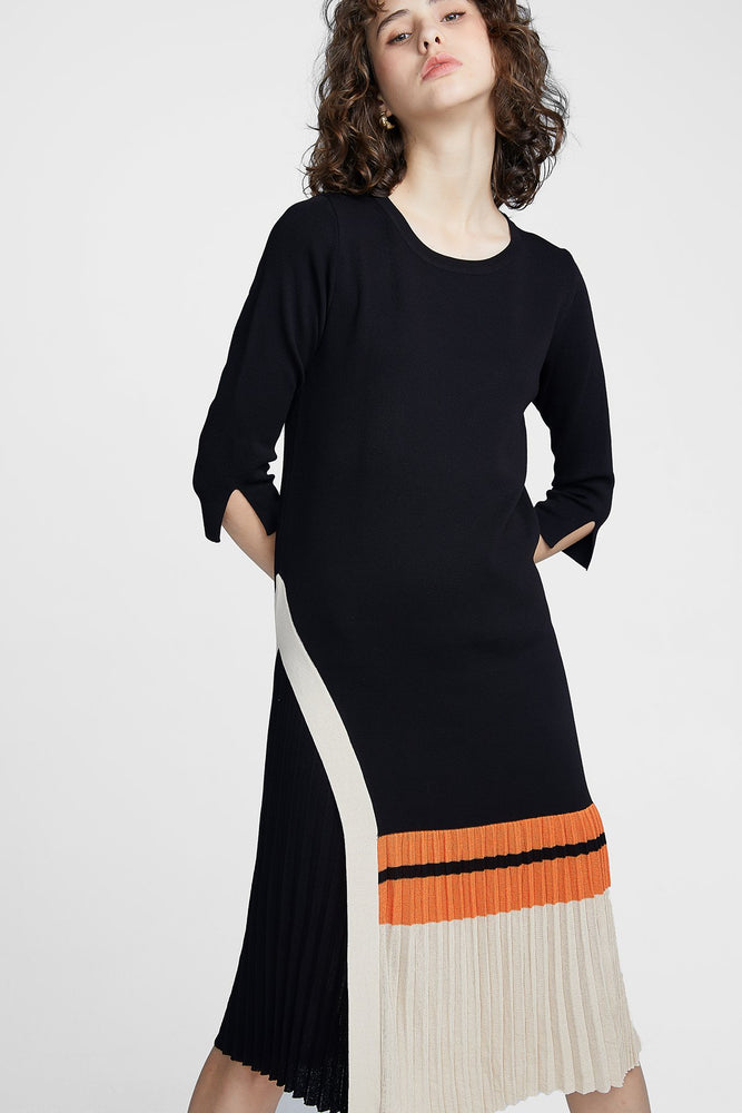 Black Knitwear Pleat Dress