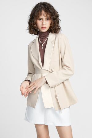 Beige Layered Jacket With Belt
