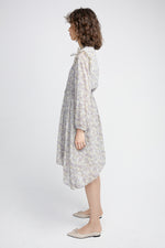 Grey Floral Frill Dress