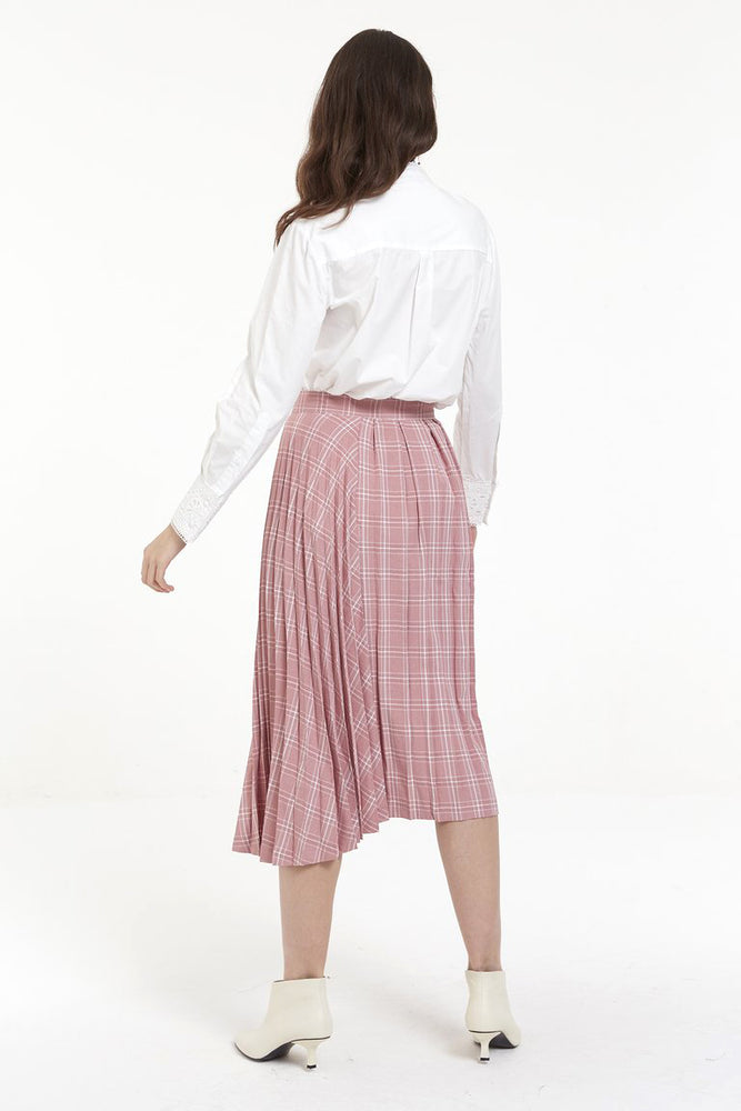 Pink Tartan Pleat Skirt