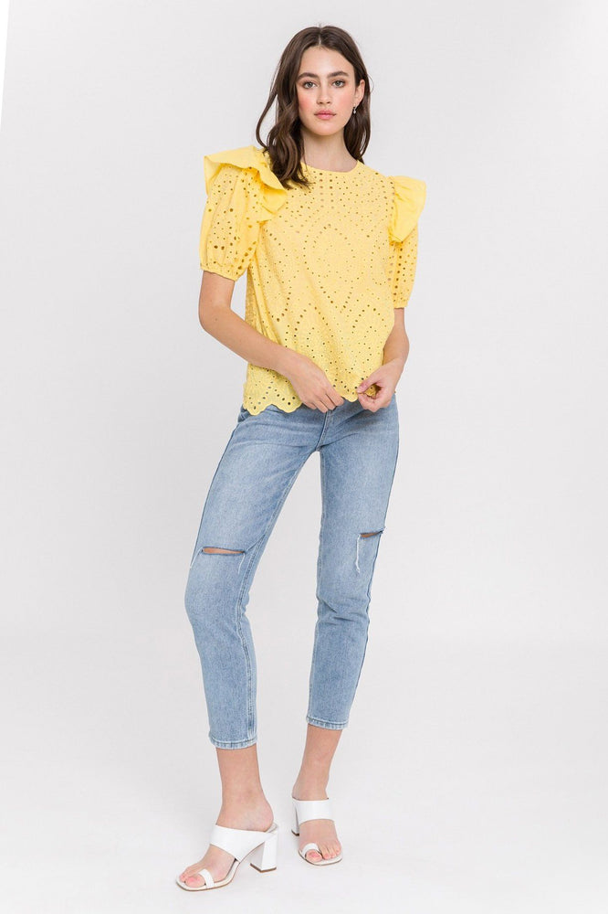 CLOTHING - Ruffle Sleeve Eyelet Top (Yellow)