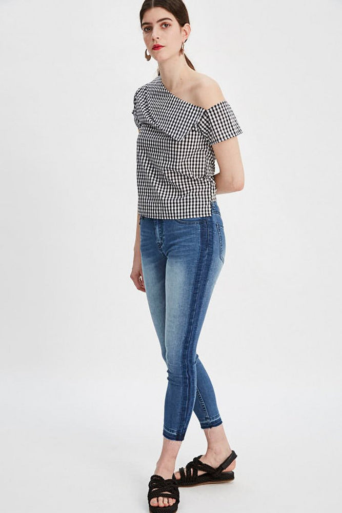 Gingham Asymmetric Blouse