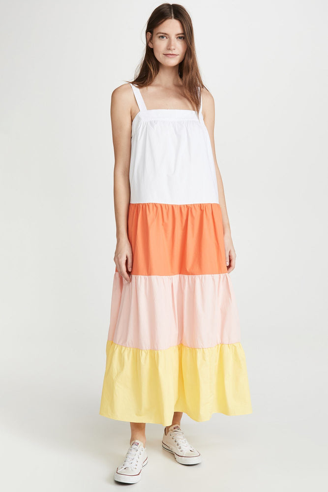 Colorblock A-line Sleeveless Dress