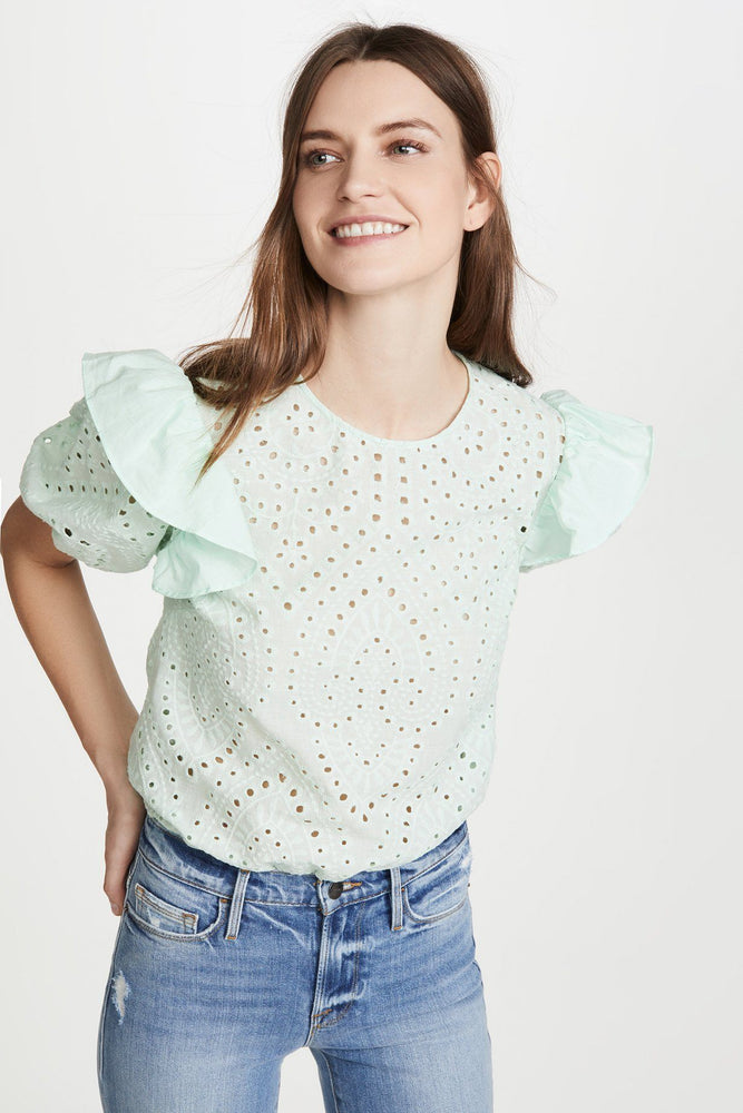 Ruffle Sleeve Eyelet Top (Mint)