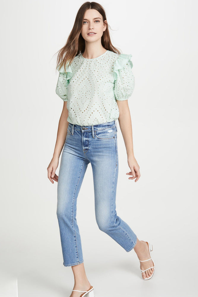CLOTHING - Ruffle Sleeve Eyelet Top (Mint)