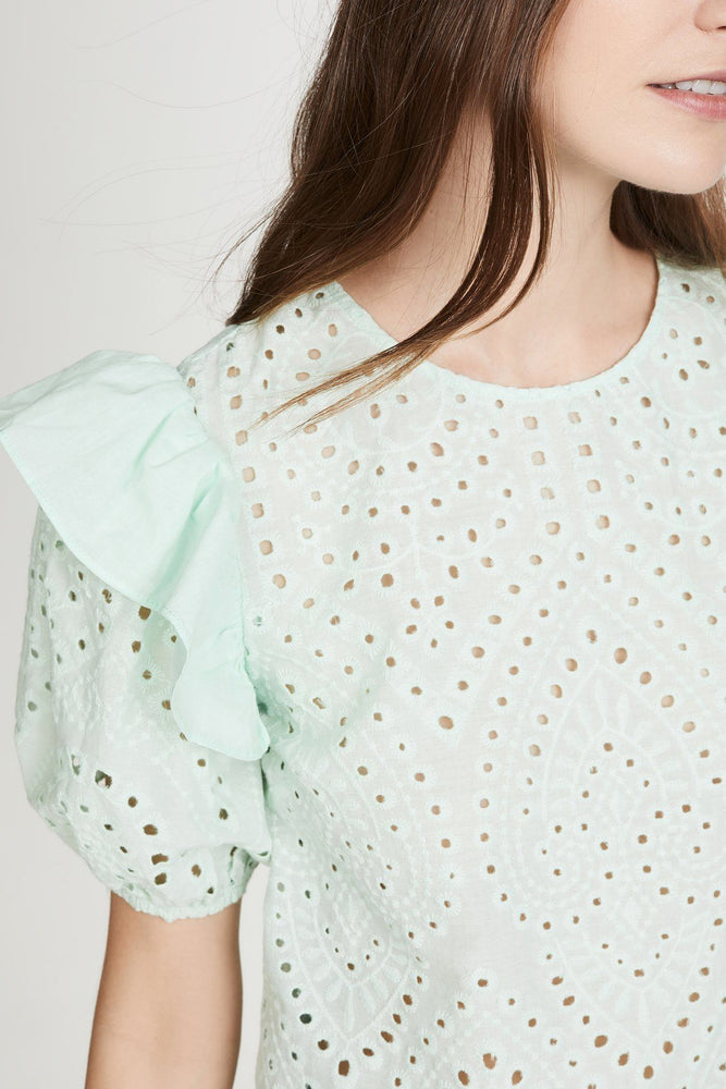 Load image into Gallery viewer, Ruffle Sleeve Eyelet Top (Mint)