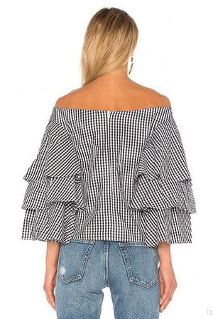 Load image into Gallery viewer, Off The Shoulder Gingham Top