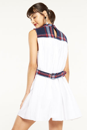 Pleated Back Dress with Belt Detail