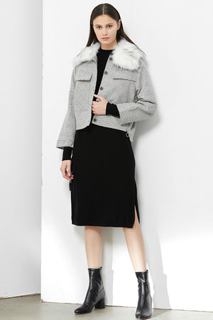 Grey Tartan Short Jacket With Detachable Faux Fur White Collar