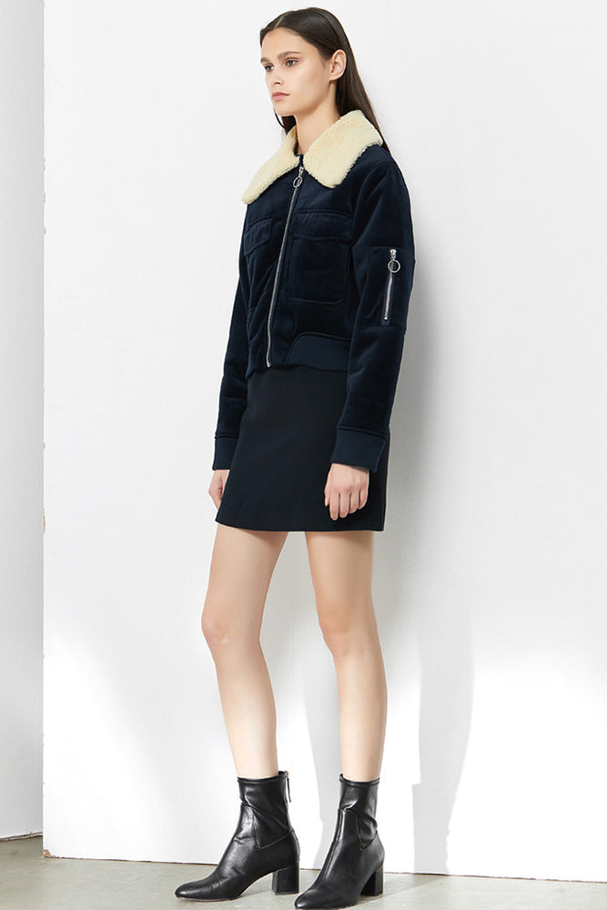 CLOTHING - Navy Velvet Short Jacket