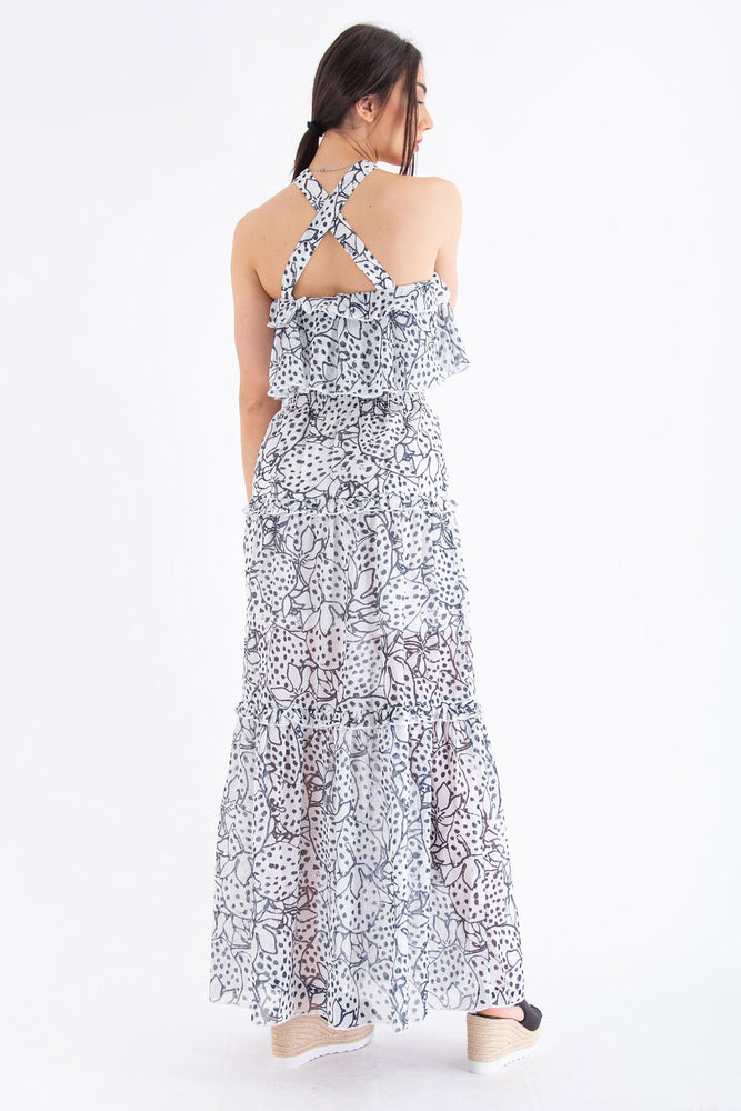 Load image into Gallery viewer, Ruffled Halter Maxi Dress