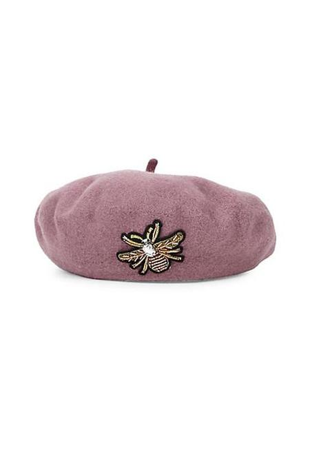 Load image into Gallery viewer, Wool Beret With Bug Stone Patch