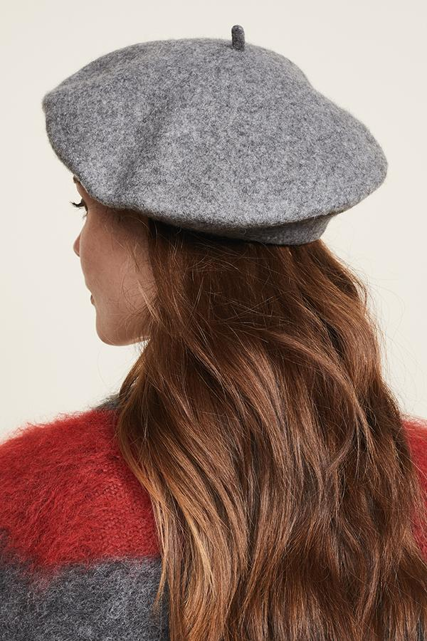 ACCESSORIES - Classic Wool Beret-Charcoal