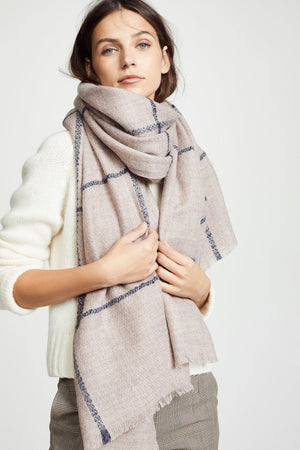 Load image into Gallery viewer, Box windowpane scarf-Blush