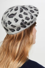 ACCESSORIES - Leopard Beret-Grey