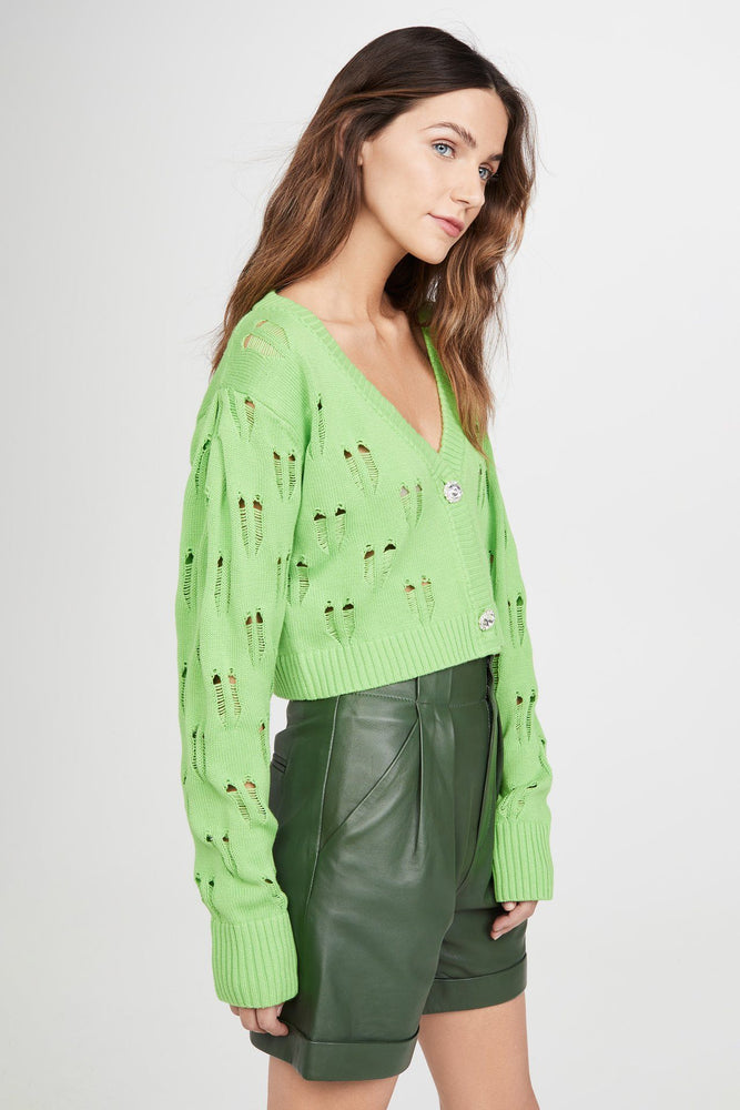 Green Knit Cropped Cardigan