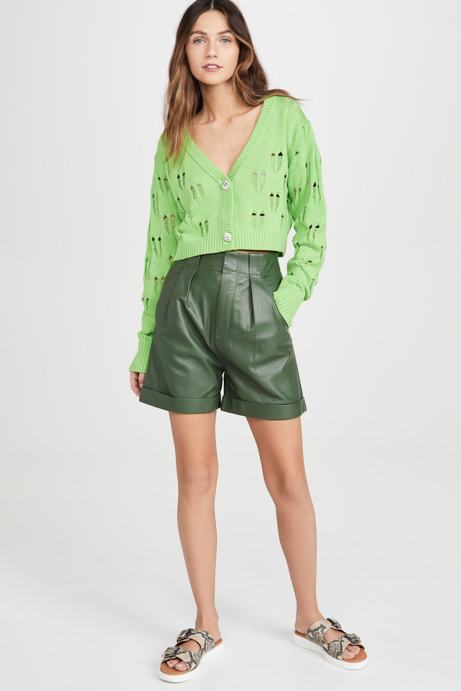 CLOTHING - Green Knit Cropped Cardigan