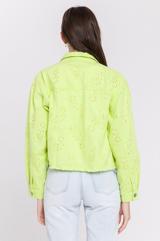Load image into Gallery viewer, Eyelet Denim Jacket
