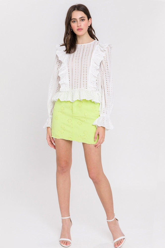 CLOTHING - Eyelet Denim Mini Skirt