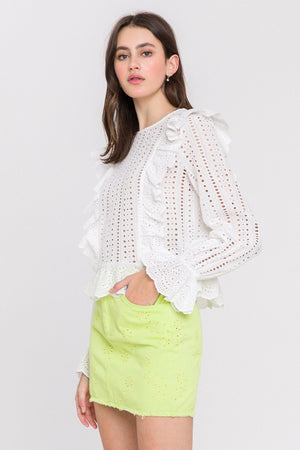Load image into Gallery viewer, Eyelet Denim Mini Skirt