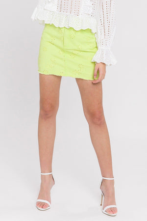 Eyelet Denim Mini Skirt