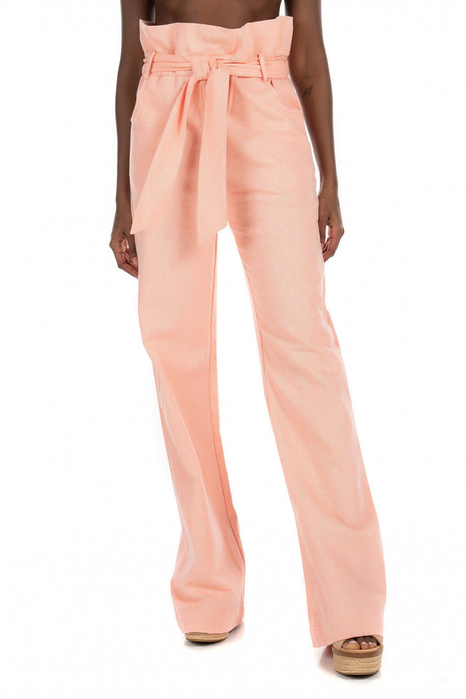 High Waisted Ruffle Pant - Orange Soda