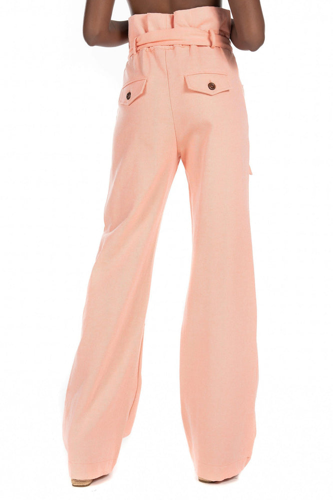CLOTHING - High Waisted Ruffle Pant - Orange Soda