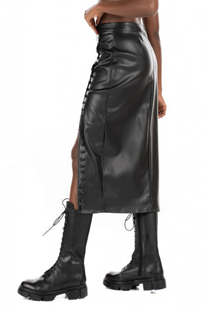 Vegan Leather Side Slit Pencil Skirt in Black