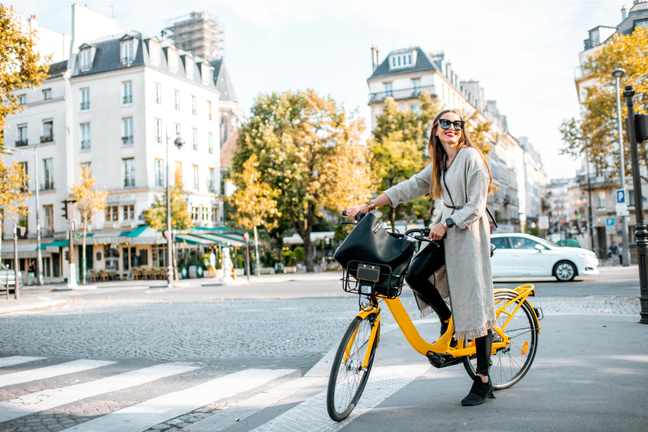 woman cyclist in a city