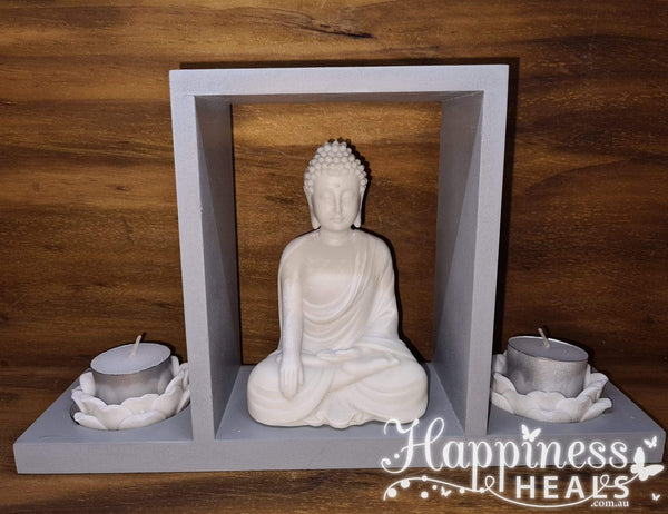 Buddha Statue With Lotus Candle Holders
