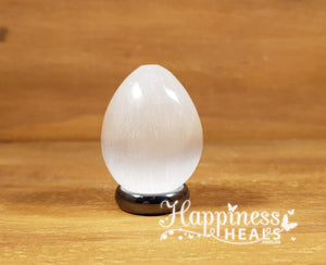 Selenite Egg With Hematite Ring Stand