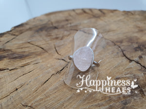 Rose Quartz Rough Ring - Size 8