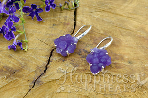 Grape Agate Drusy Earrings