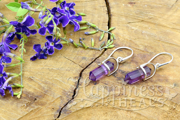 Amethyst Double Point Earrings