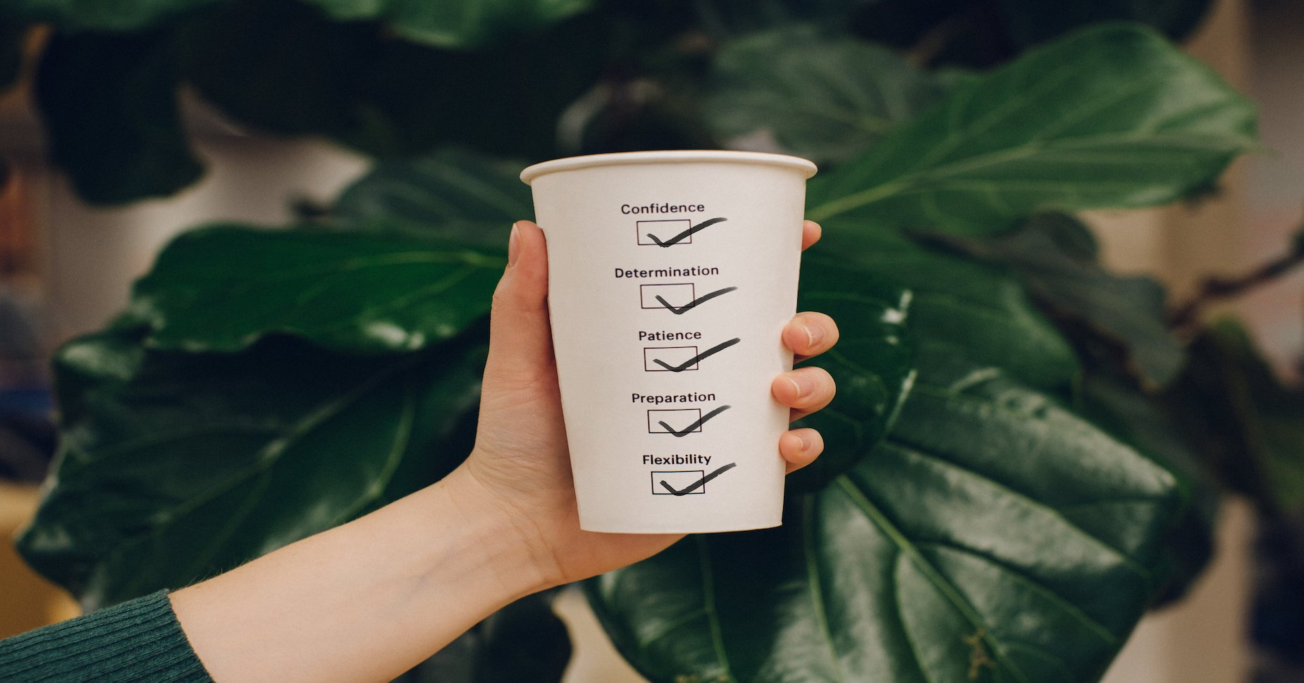 Cup with a checklist