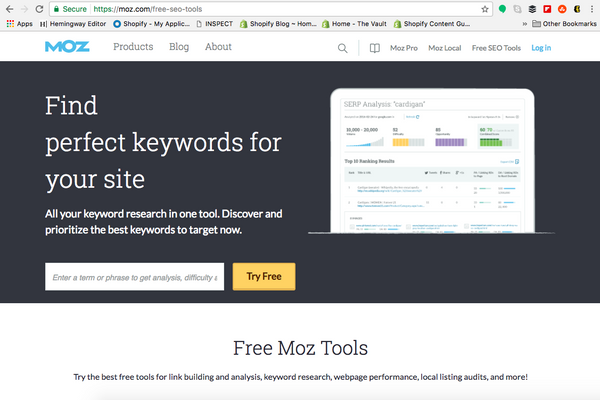 SEO tools, Moz | Shopify Retail blog