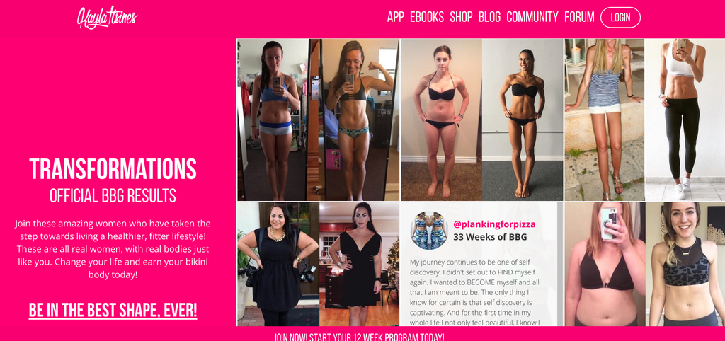 Kayla Itsines product copy | Shopify Retail blog