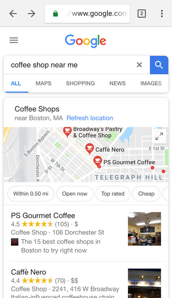Google near me search results | Shopify Retail blog