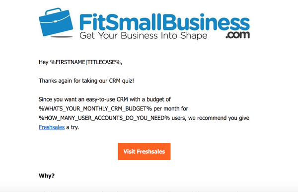 FitSmallBusiness drip campaign example | Shopify Retail blog