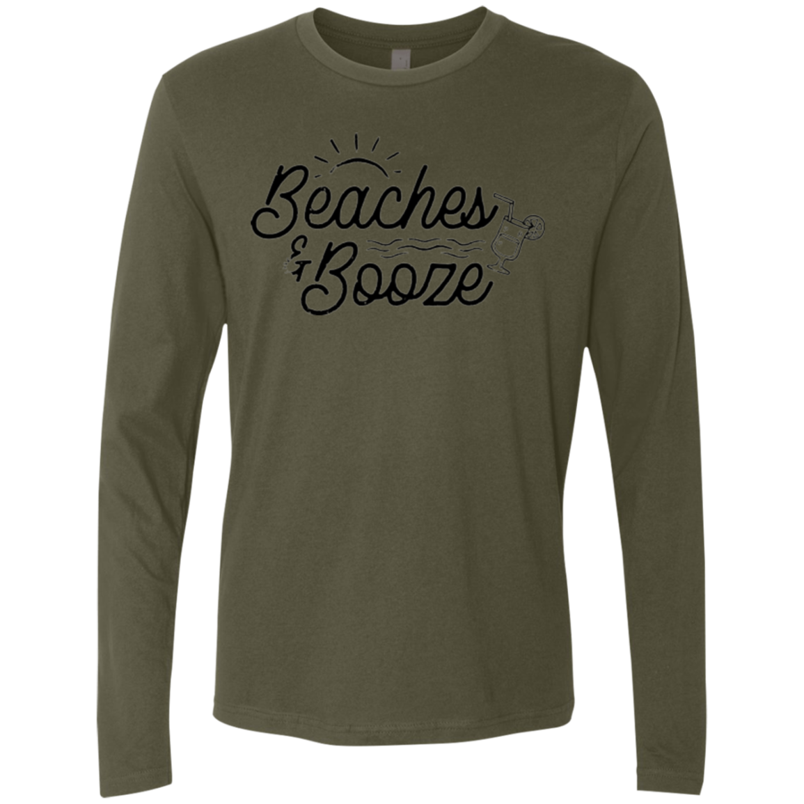 Beaches and Booze Men's Long Sleeve Tee - Trendy Tees