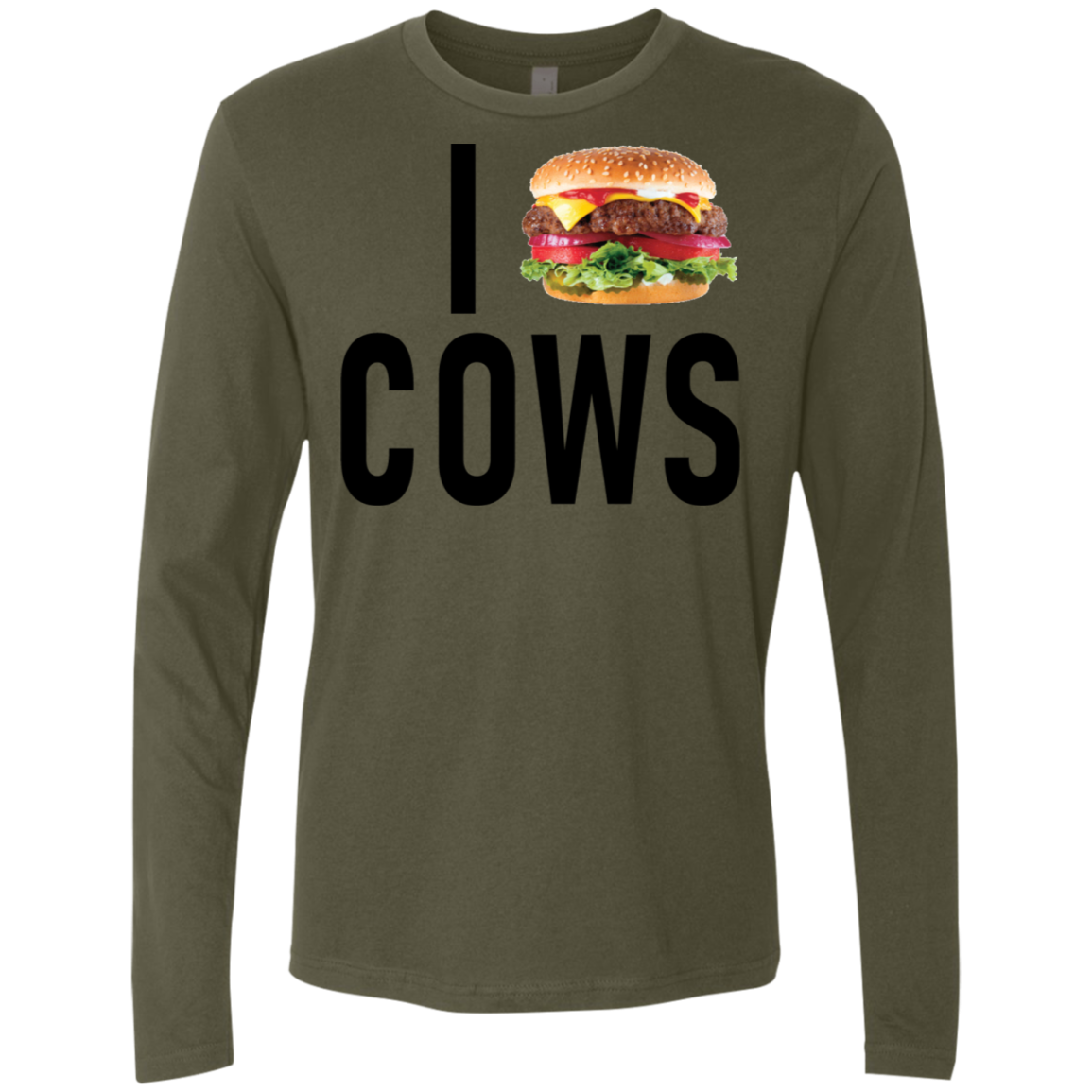 I Love Cheeseburger Cows Men's Long Sleeve Tee