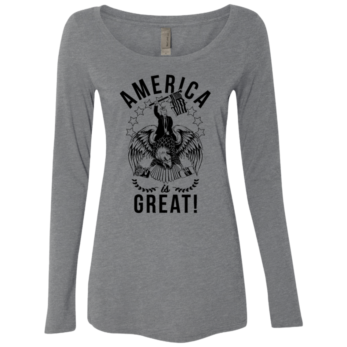 America is Great Trump Riding Eagle Women's Long Sleeve Tee - Trendy Tees