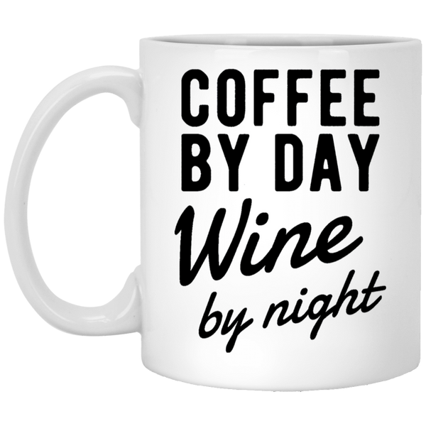 Coffee by Day Wine by Night 11 oz. White Coffee Mug - Trendy Tees