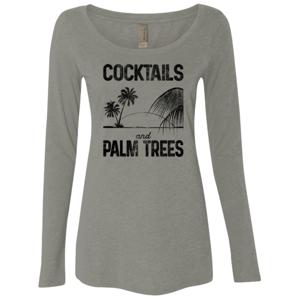 Cocktails and Palm Trees Women's Long Sleeve Tee - Trendy Tees