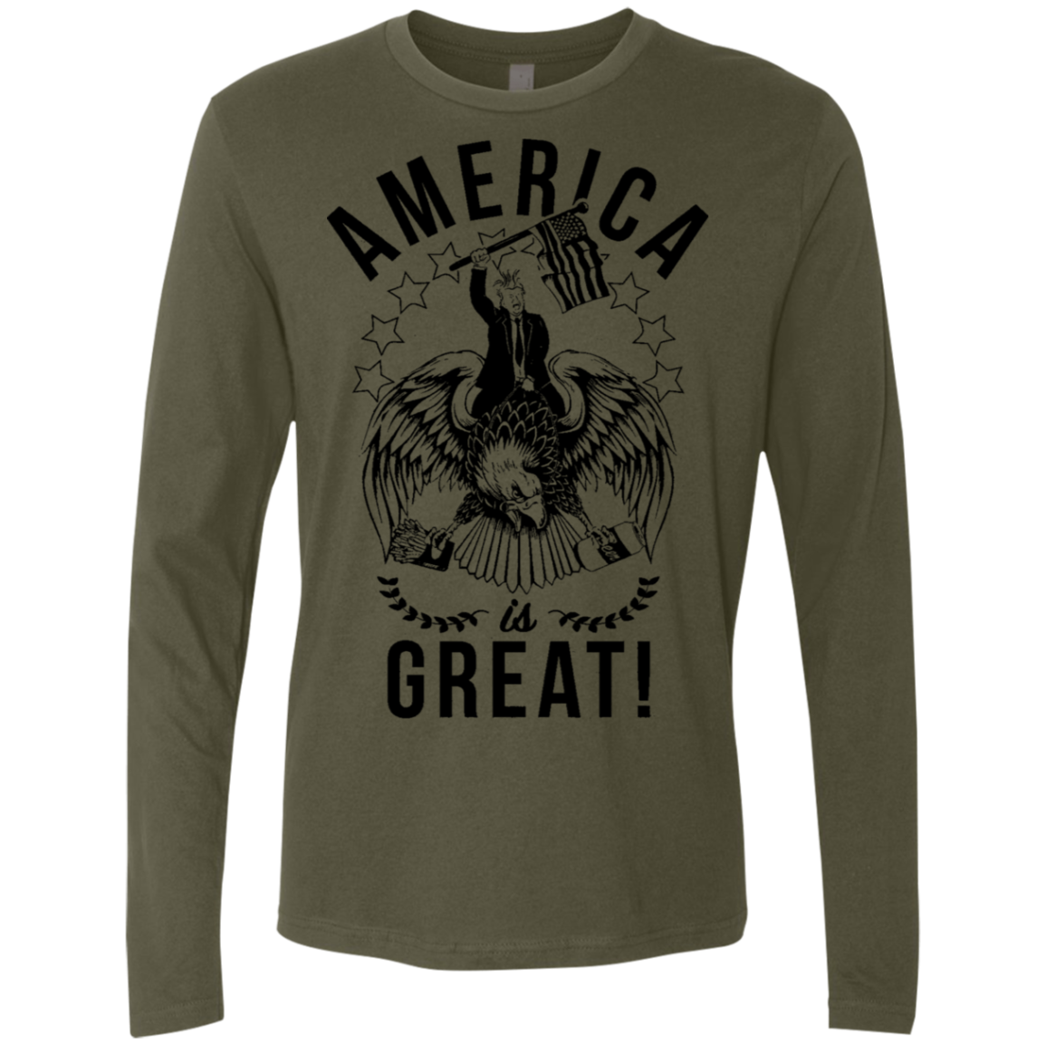 America is Great Trump Riding Eagle Men's Long Sleeve Tee - Trendy Tees
