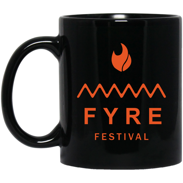 Fyre Festival Orange Logo 11 oz. Black Coffee Mug - Trendy Tees
