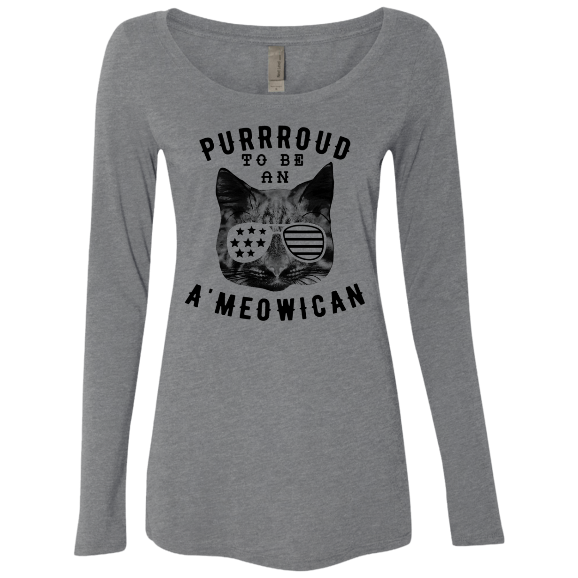 Purrroud To be An American Women's Long Sleeve Tee