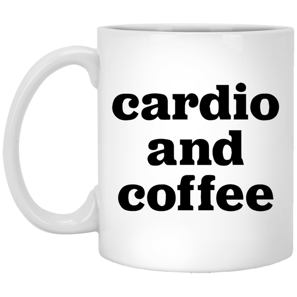 Cardio and Coffee 11 oz. White Coffee Mug - Trendy Tees